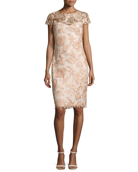 Cap-Sleeve Embroidered Metallic Cocktail Dress, Peach Blossom