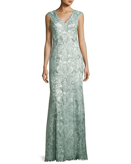 Sleeveless Metallic Floral Lace Gown, Mink Gray
