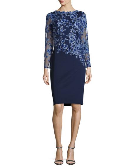 Long-Sleeve Embroidered Neoprene Cocktail Dress, Blue/Violet/Navy