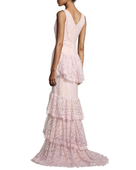 Tadashi Shoji Sleeveless Tiered Lace Mermaid Gown, Rosetta ...