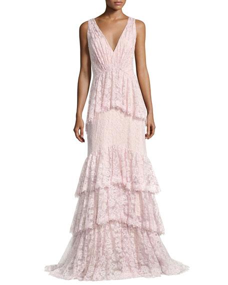 Tadashi Shoji Sleeveless Tiered Lace Mermaid Gown, Rosetta