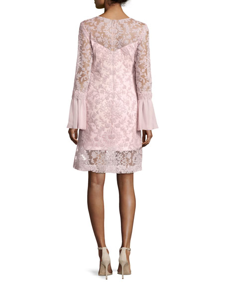 Long-Sleeve Embroidered Overlay Cocktail Dress, Rosetta