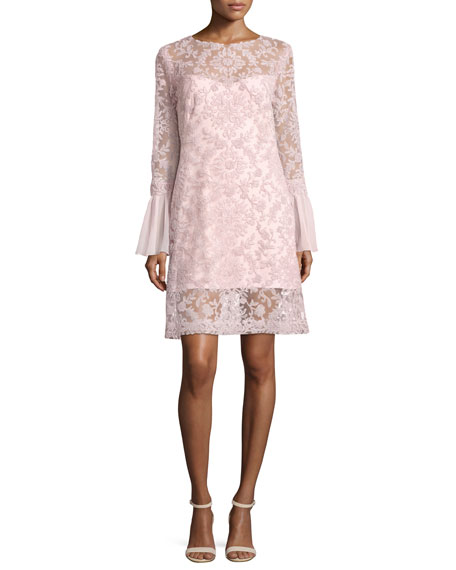 Tadashi Shoji Long-Sleeve Embroidered Overlay Cocktail Dress,