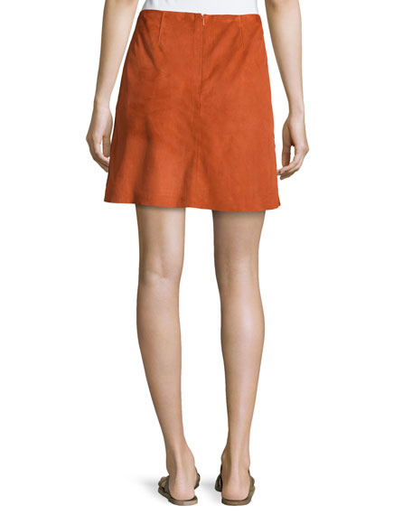 Irenah Metises Suede Mini Skirt, Orange
