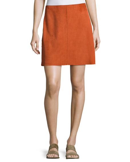 Theory Irenah Metises Suede Mini Skirt, Orange