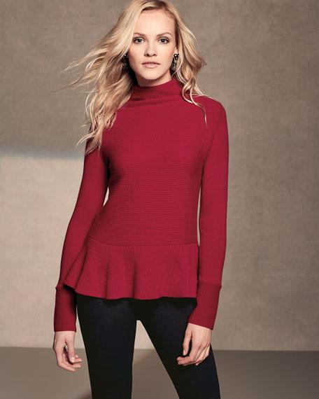 Ribbed Mock-Neck Cashmere Peplum Sweater