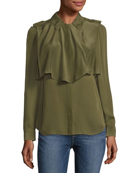 Mixed Military Long Sleeve Silk Shirt, Dark Green