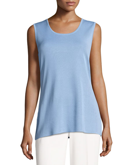 Misook Round-Neck Soft Tank, Blue Opal, Plus Size