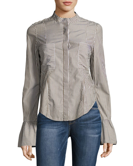 FRAME Fitted Striped Poplin Top, Green Pattern