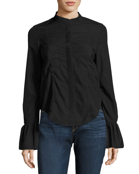 FRAME Fitted Long-Sleeve Poplin Shirt Top, Black