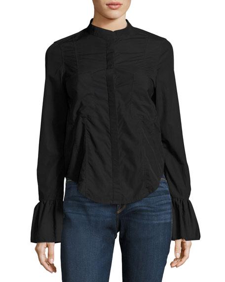Fitted Long-Sleeve Poplin Shirt Top, Black
