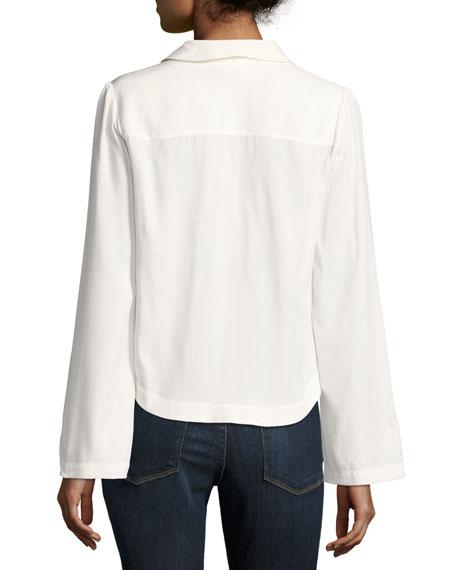 Whipstitch V-Neck Blouse Top, Off White