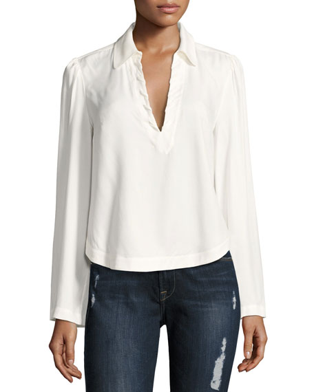 FRAME Whipstitch V-Neck Blouse Top, Off White