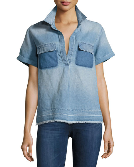 AG Peter Collared Patched Denim Top