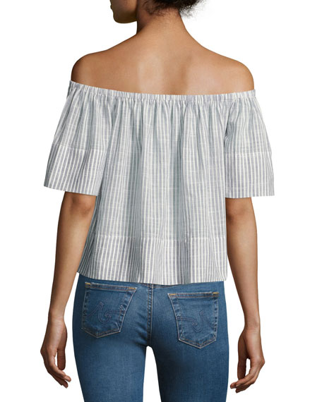 Sylvia Off-the-Shoulder Top, Blue Stripes