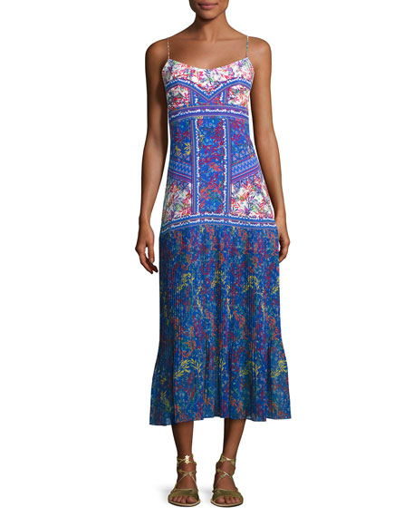 Saloni Veronica Pleated-Skirt Maxi Dress, Multi Pattern