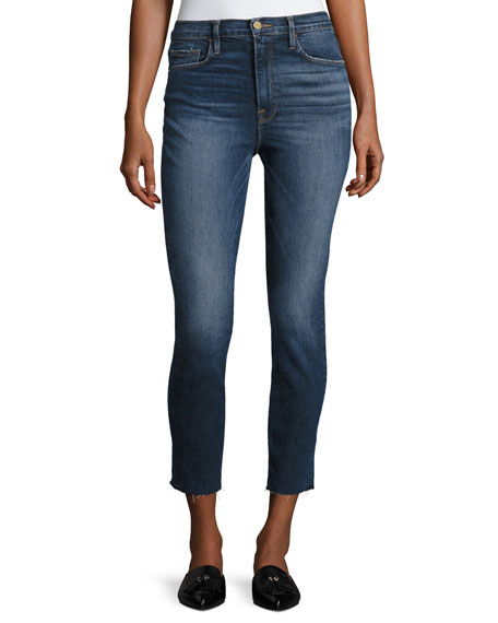 FRAME Ali High-Rise Skinny Cigarette Cropped Jeans, Blue