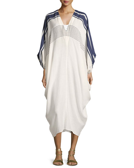 SU PARIS Pipa V-Neck Coverup Caftan, One Size