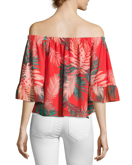 Faith Tropical Palm Off-the-Shoulder Top, Red