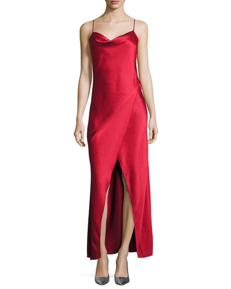 Bowery Draped Satin Slip Gown, Mid Red