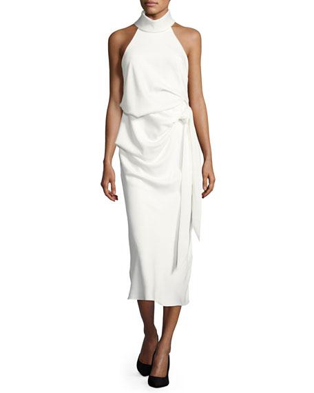 Foxglove Sleeveless Draped Cocktail Dress, White