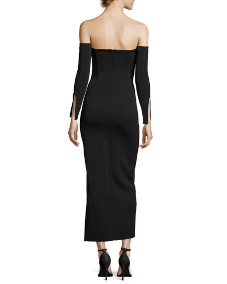 Twiggy Off-the-Shoulder Midi Cocktail Dress, Black