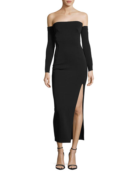 Camilla & Marc Twiggy Off-the-Shoulder Midi Cocktail Dress,