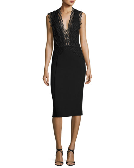 Arches Sleeveless Scalloped Lace & Ponte Cocktail Dress, Black