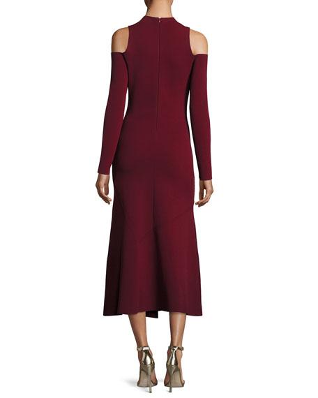Lindeval Cold-Shoulder Jersey Cocktail Dress, Dark Red