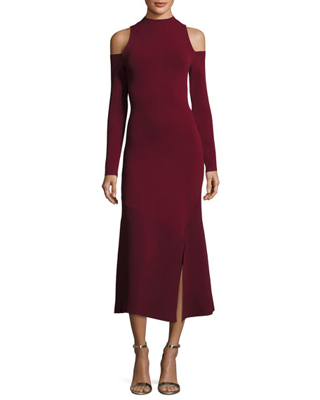 Lindeval Cold-Shoulder Jersey Cocktail Dress, Dark Red