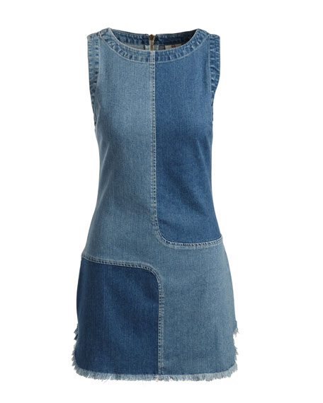 Indie Two-Tone Paneled Denim Dress, Blue