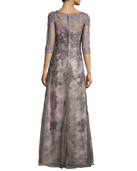 3/4-Sleeve Beaded Embroidered Lace Gown, Platinum