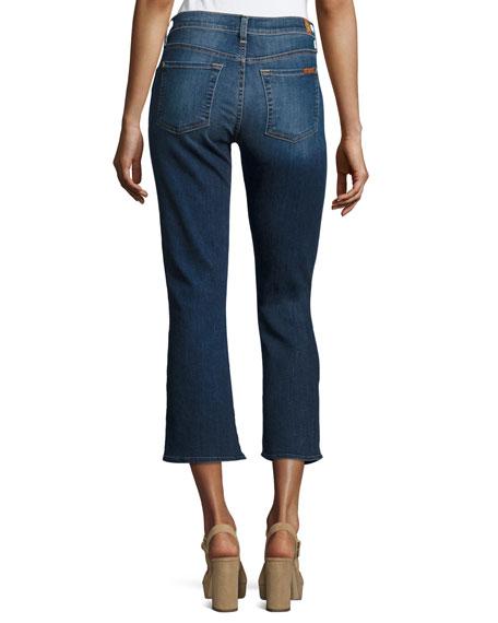 Cropped Boot-Cut Jeans W/ Seams & Front Splits, Indigo