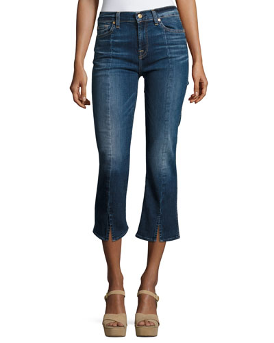 Cropped Boot-Cut Jeans W/ Seams & Front Splits, Indigo