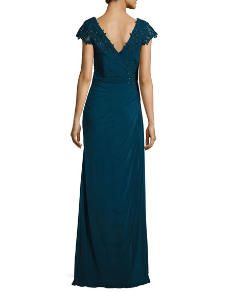 Cap-Sleeve Lace-Trim Jersey Gown, Deep Teal