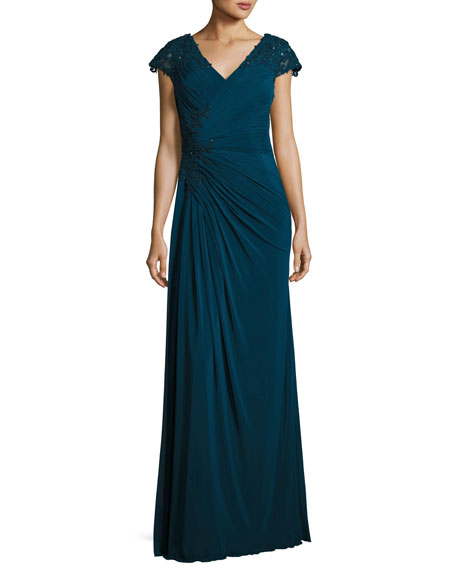 La Femme Cap-Sleeve Lace-Trim Jersey Gown, Deep Teal