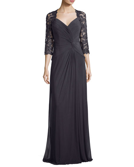La Femme 3/4-Sleeve Ruched Jersey Column Gown, Gunmetal