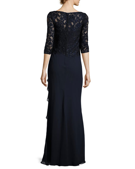 3/4-Sleeve Beaded Lace & Chiffon Gown, Navy