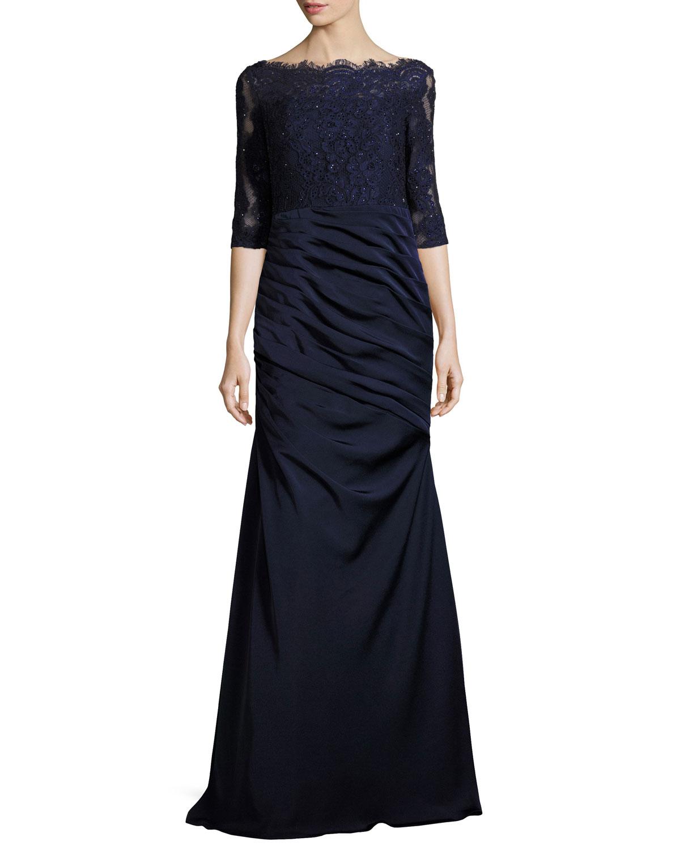 La Femme 3/4-Sleeve Lace & Jersey Gown, Navy | Neiman Marcus