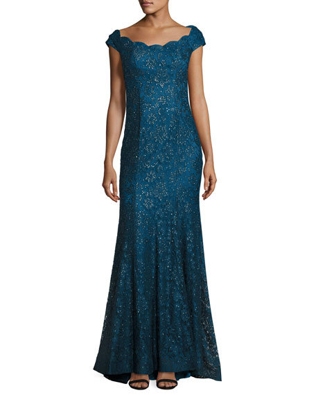 La Femme Cap-Sleeve Sequin Lace Evening Gown, Dark