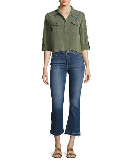 Insider Crop Undone-Hem Jeans, Indigo
