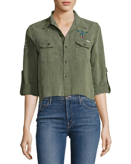 Mother Denim Trooper Crop Fray Top, Green