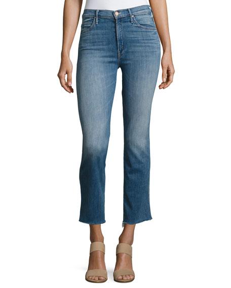 Rascal High-Waist Ankle Fray Jeans, Indigo