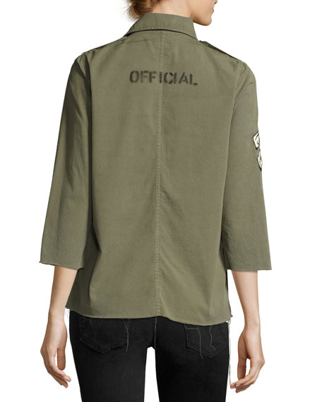 Top Brass Fray Utility Jacket, Green
