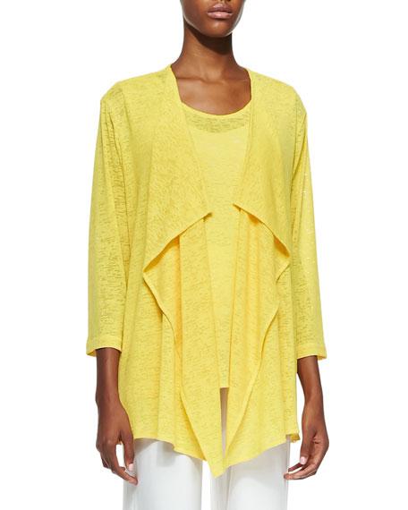 Caroline Rose Gauze Knit Draped Jacket, Plus Size