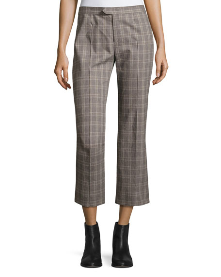 Etoile Isabel Marant Nerys Plaid Crop Pants, Gray