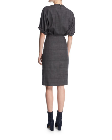 Neou Jewel-Neck Wool Sheath Dress