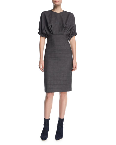 Etoile Isabel Marant Neou Jewel-Neck Wool Sheath Dress