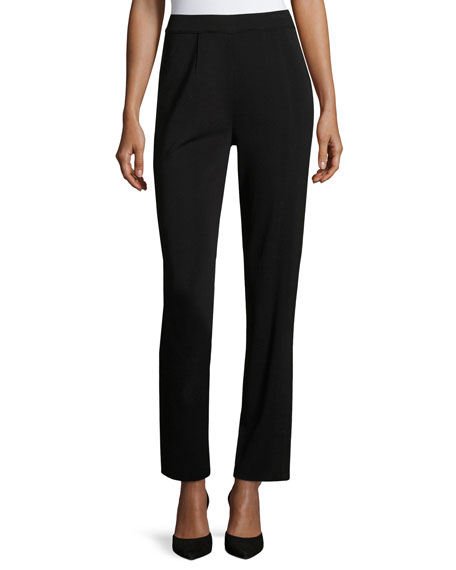 Misook Straight-Leg High-Rise Pants, Petite