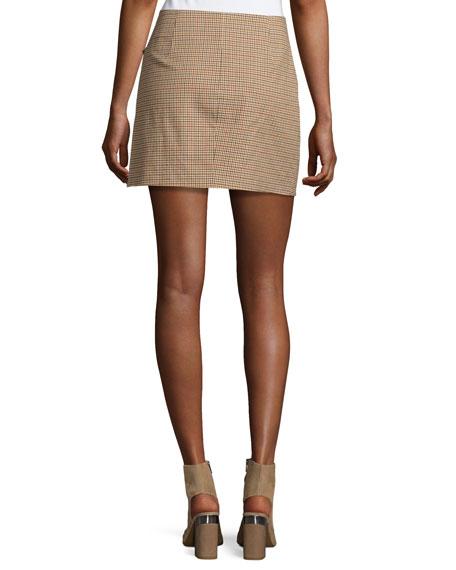 Ninon Plaid Mini Skirt, Beige
